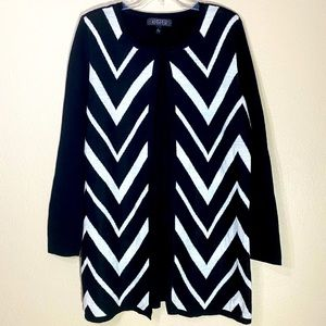 Vintage Knit Cardigan Top Tunic Chevron Open Front